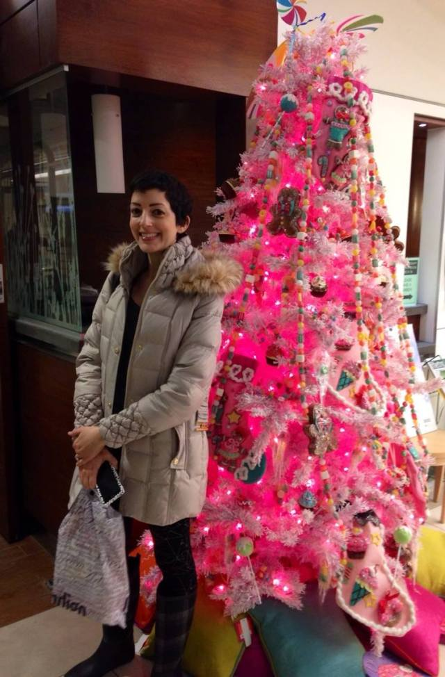 Last week pre-treatment in the waiting room. The christmas tree was pink and adorned with cupcakes.